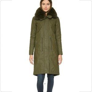 Alice + Olivia Quinton Hooded Fur Trim Parka Coat